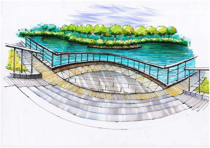 滨水广场手绘节点图